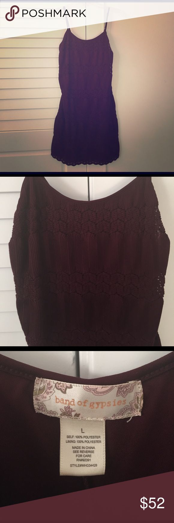 Band of Gypsies Knitted Cami Dress - Size L Band of Gypsies Knitted Cami Dress. Size large. As sold at ASOS. Worn a few times, great condition! Color is called 'wine' which is a dark / wine red. Soft fabric and comfortable fit. The perfect dress to pair with some Tory Butch sandals for the summer! Description: Casual dress by Band of Gypsies - Textured fabric - Square neck - Adjustable cami straps - Ribbed panels - Scalloped hem detail - Slim fit - cut close to the body - Hand wash - 100%…