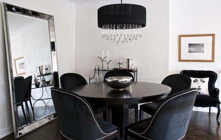 dining rooms - Restoration Hardware Venetian Beaded Leaner Mirror round black dining table black velvet dining chairs silver nailhead trim black drum crystal chandelier