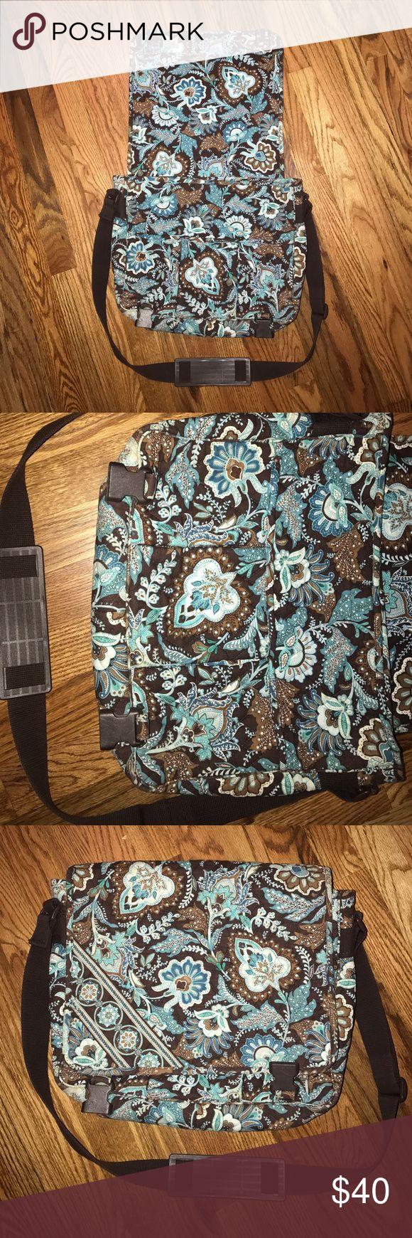 Vera Bradley shoulder bookbag/satchel/laptop bag Brown, blue, white patterned Vera Bradley laptop bag with pockets. Vera Bradley Bags Satchels