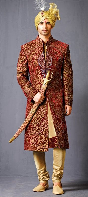502002 Red and Maroon  color family Sherwani in Raw Dupion Silk fabric with Patch, Thread work .