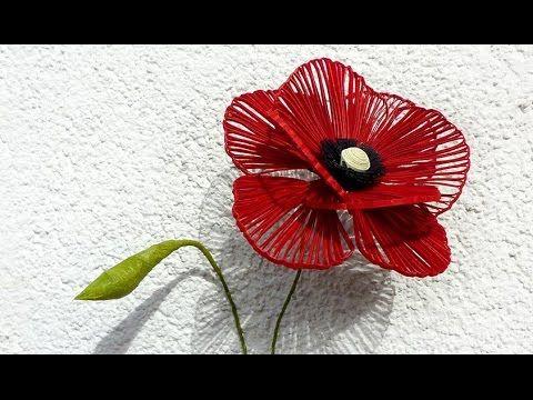 Quilled Poppy Flower - Coquelicot quilling - Flor de la Amapola de Papel