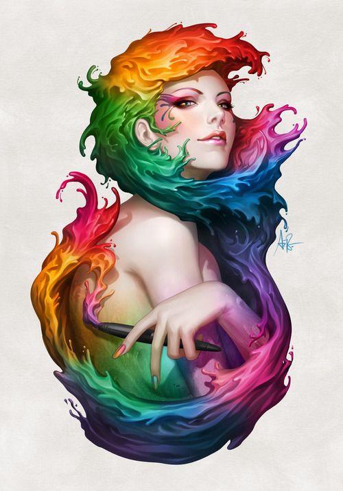 Angel of Colors by `Artgerm: Digital Paintings, Fantasy Art, Colors Art, Art Prints, Digital Art, Colors Wheels, Stanley Lau, Digital Illustrations, Beautiful Art