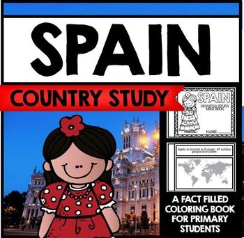 """This 24 Page """"All About Spain"""" country study mini booklet project is perfect your upcoming Spain unit, lesson, multicultural study, cultural fair, or country study. Full of information about Spain, this fun coloring book includes information about Spain written in engaging informational text that is perfect for the lower elementary grades."""