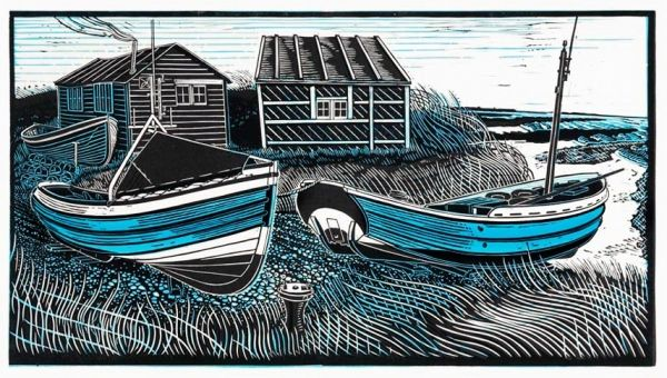 """""""Cobbles at Beadnell"""" linocut by James Dodds (UK)  £400; edition  of 150, 58 x 89 cm"""