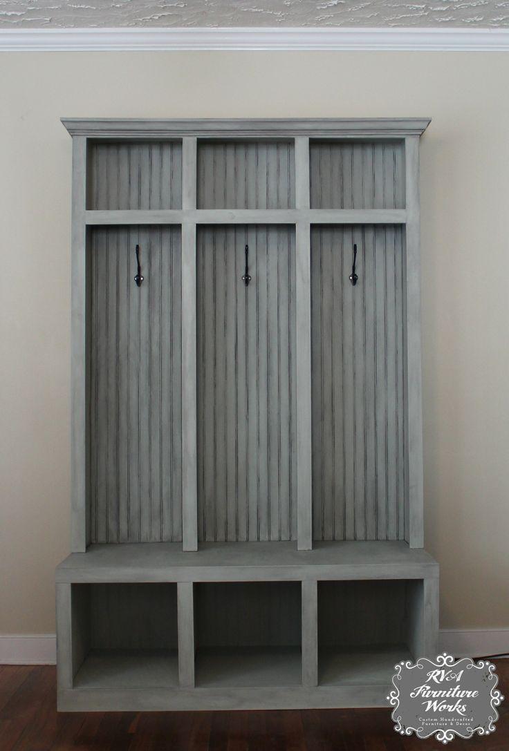 Custom Mudroom Lockers ~ $850 #mudroom #storage #entryway #distressedgray  #chalkpaint