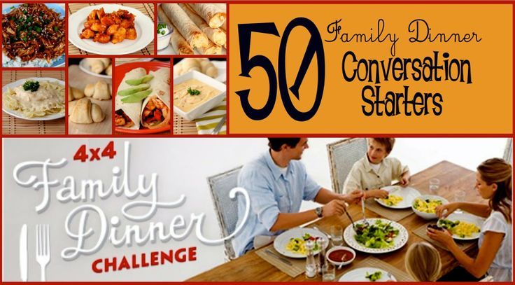 50 Family Dinner Conversation Starters from SixSistersStuff.com to help make your family dinners more meaningful! #dinner #family