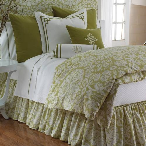 Versailles Bedding by Legacy Home - damask print in celery green and white -  duvet, bed skirt, pillow shams