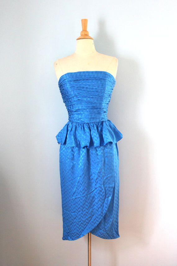 1980s dress / 80s blue cocktail dress /Raul Blanco by LivedIn