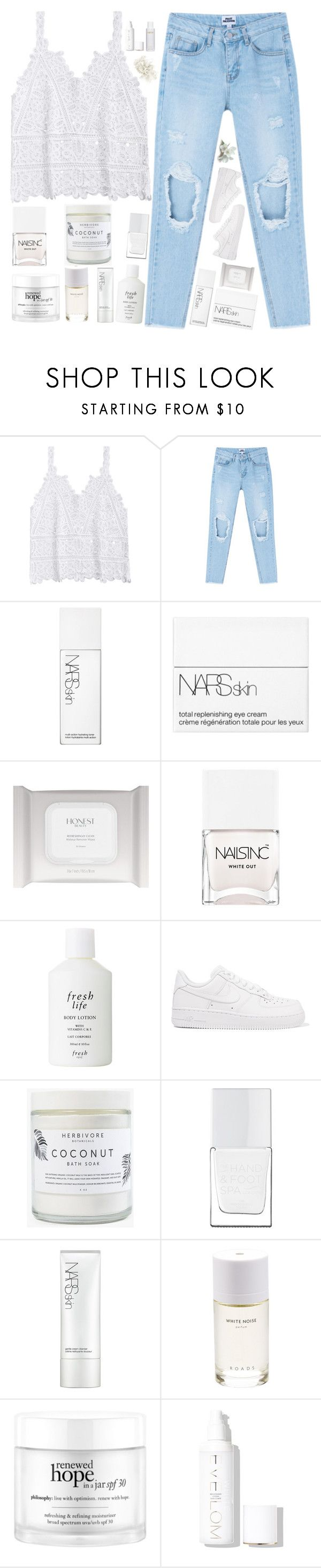 """""""Untitled #307"""" by fashionqueen14871 ❤ liked on Polyvore featuring NARS Cosmetics, Honest Beauty, Nails Inc., Fresh, NIKE, Herbivore, The Hand & Foot Spa, Roads, philosophy and Eve Lom"""