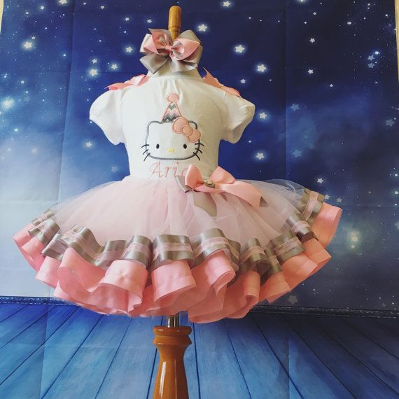 First birthday outfit hello kitty tutu ribbon trim tutu by jonna21