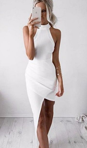 With high-neck, pure white color, slim waist and irregular pattern, this dress looks so beautiful. And the unique design of the front of breast is attractive. The flowing hem of this skirt makes it lo