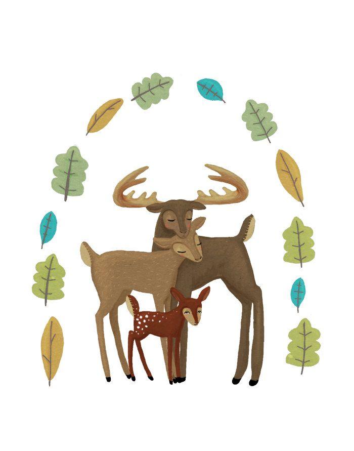 deer family forest friends nursery art. 8.5 x 11 inch woodland creature artwork for baby, kids, children.. $20.00, via Etsy.