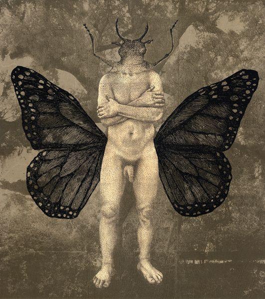 Piia Lehti, Perhonen / Butterfly, 2015, silkscreen on plywood, 69 x 61 cm
