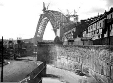The Argyle Cut in the Rocks in Sydney during the construction of the Sydney Harbour Bridge.