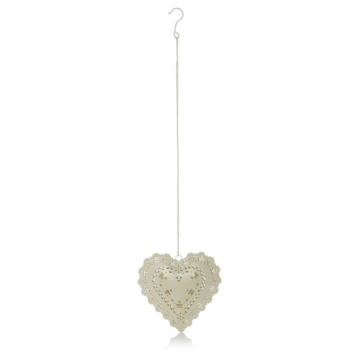 George Home Heart Tealight Holder - Cream | Candles & Diffusers | ASDA direct