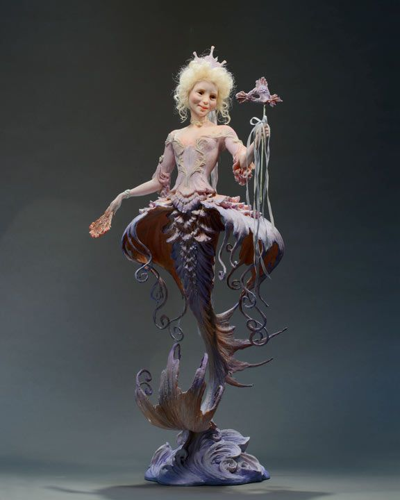 """A Fish from Versailles ii, by Forest Rogers, in Kato Polyclay. About 11"""" tall."""