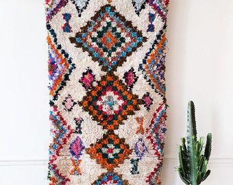 Vintage alfombra marroquí de Boucherouite,