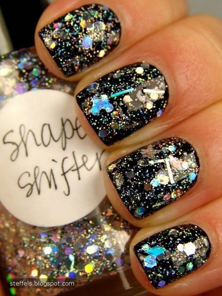 Mixed with Candy Lacquer Starlight, it was killer.: Nails Art, Shape Shifter, Black Nails, Glitter Nails, Parties Nails, Nails Polish, New Years Eve, Black Glitter, Sparkly Nails