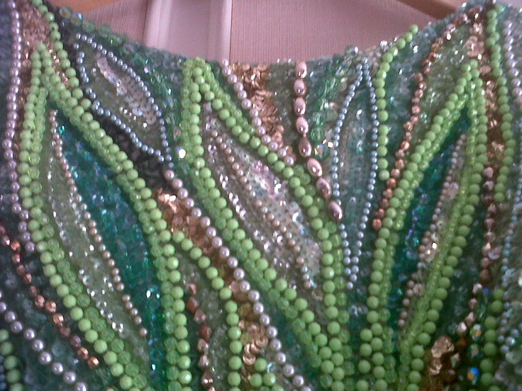 Precious Cocktails and  Evening Dress, finely embroidered bodice with beads apple green, silver and gold