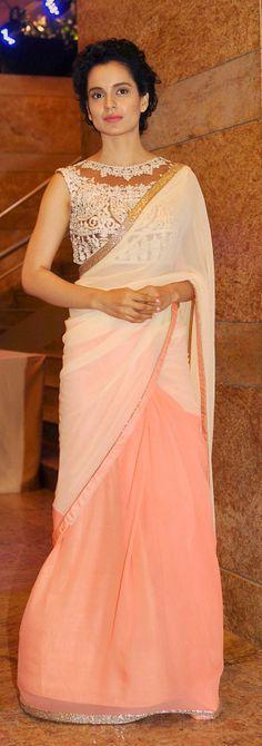 Kangana Ranaut looked statuesque in this sari. Love the blouse and the sari.