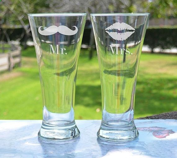 Wedding Gift - Custom Engraved Beer Glasses (x2) - Traditional Beer Pilsners - Personalized Beer Glasses - Birthday GIft - Anniversary Gift on Etsy, $24.95