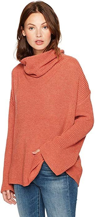33dc12ba34 Amazon.com  Cable Stitch Women s Funnel Neck Oversized Sweater Small Rust   Clothing