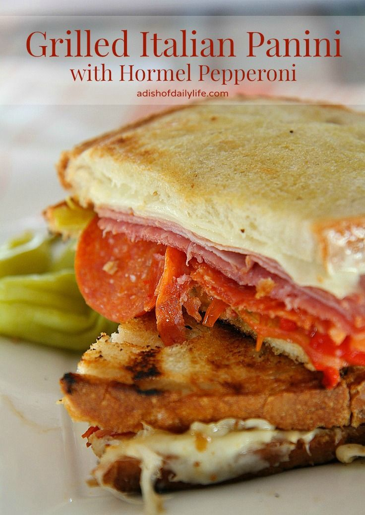 Celebrate spring by taking your sandwich making outside to the grill with this delicious melty Grilled Italian Panini with Hormel Pepperoni! #ad #PepItUp