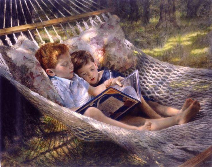 A shade, a hammock and good company … sharing summer reading / Una sombra, una hamaca y buena compañía… compartiendo lectura en verano (ilustración de Steven Christopher Seward)