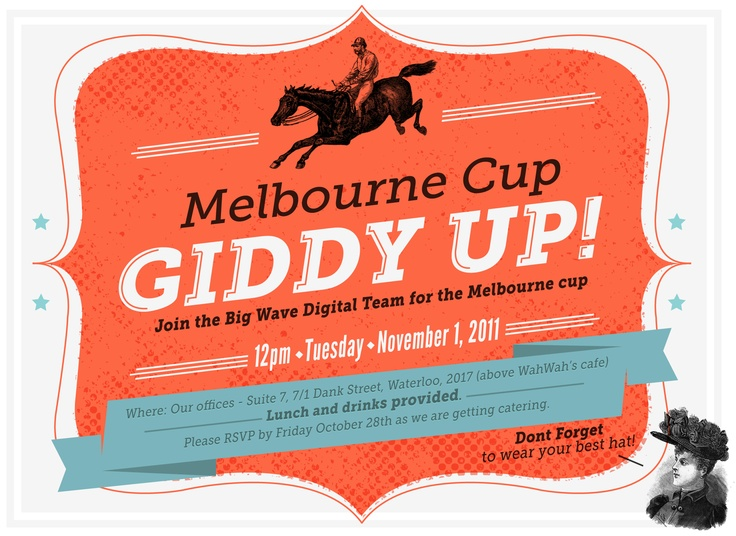 Melbourne Cup Giddy Up Invite My Work Pinterest