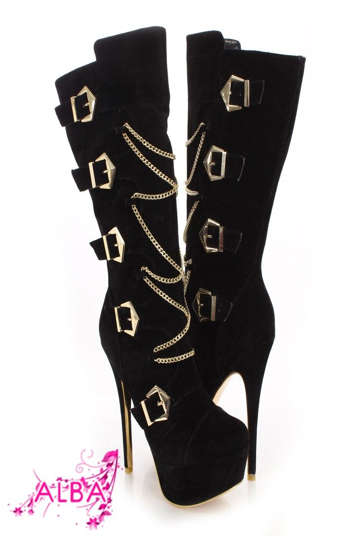 Step out in style in these hot boots! Great for the fall season, paired with a sweater dress and scarf. Featuring a faux suede upper, buckle detail, chain accent, stitched, side zipper closure, smooth lining, and cushioned foot bed. Approximately 9 inch shaft 15 inch circumference 2 inch platform and 6 inch heel.