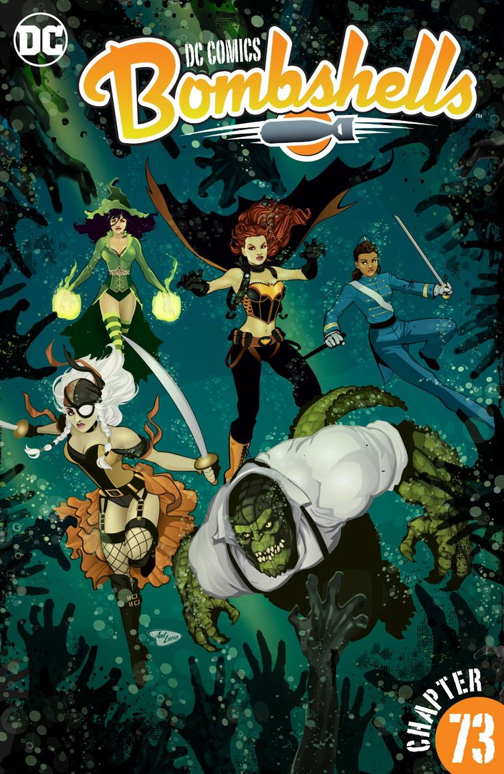 DC Comics: Bombshells No. 73 (09.12.2016) // Follow the Suicide Squad on their first mission—directly after the events of the Bombshells Annual—as Vampire Batgirl, Enchantress, Ravager, Killer Croc and Frankie go to rescue Vampire Batgirl's long-lost lover, Luc! #dc #comics #bombshells
