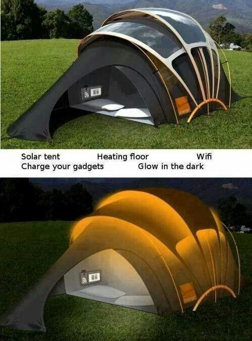 Solar tent! Heats the floor, has Wi-Fi, charges ur items, and glows in the dark...