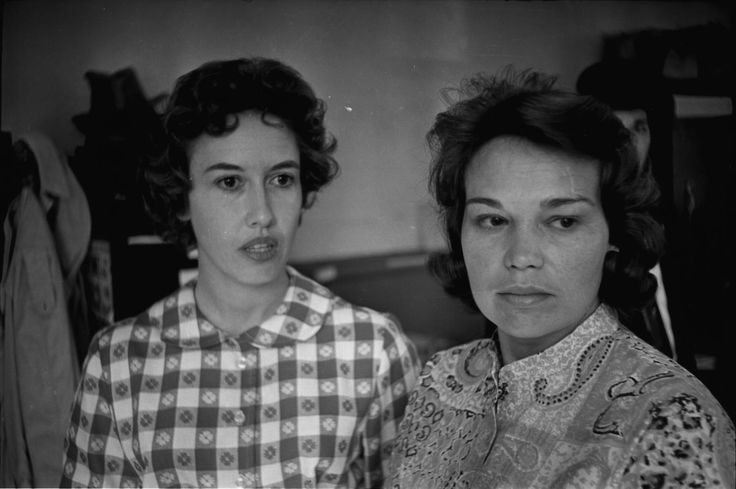 Original black and white photographic negative taken by Dallas Times Herald and United Press International photographer Darryl Heikes. This image shows assassination eyewitnesses Jean Hill (left) and Mary Moorman (right) at the Dallas County Sheriff's office the afternoon of November 22, 1963