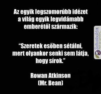The sadest sentence for the happiest man...  I like to walk in the rain, because anybody see when i cry.   Mr. Bean
