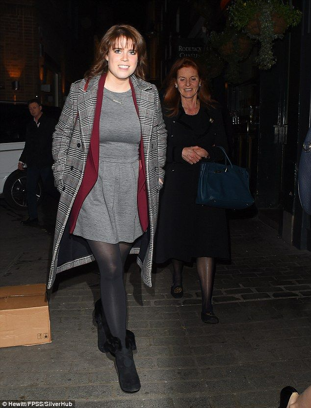 Eugenie layered up and added a pair of black, fur-lined boots to keep cosy in the winter chill