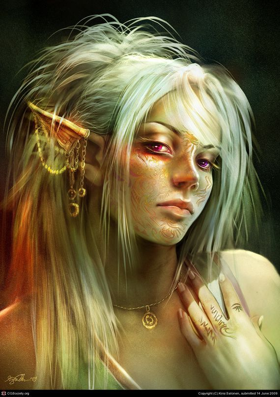 Female Elves | portrait of an elf female with tattoos on face and earring and ...