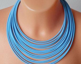 Gioielli tessili / collana / Tribal collana / colorati gioielli / minimalista collana / blu collana in corda / gioielli di tessuto