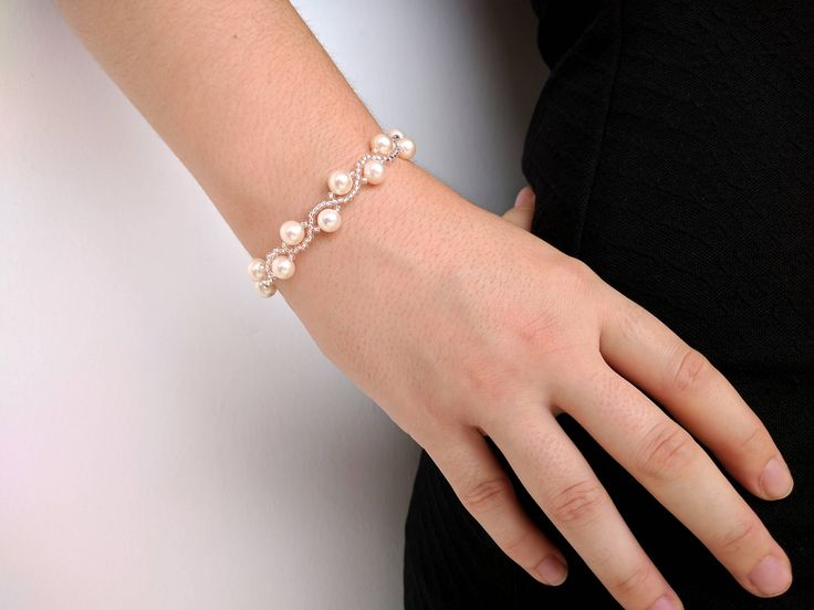 Elegant pearl bracelet - Real freshwater pearl wedding jewelry set with sterling silver parts. Cultured pearl - Bridal jewelry - Bridesmaid jewelry - Sterling silver - Wedding necklace with bracelet - Wedding necklace with earrings
