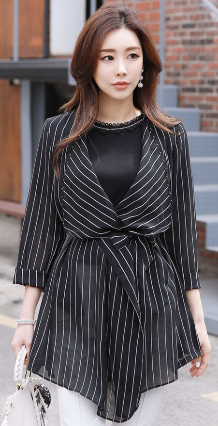 StyleOnme_Pinstripe Belted Wrap Style Jacket #pinstripe #jacket #chic #koreanfashion #kstyle #kfashion #springtrend #dailylook