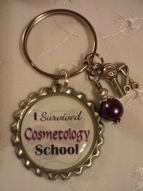 I survived Cosmetology School key chain with charms by chaleybrooke on Etsy https://www.etsy.com/listing/235009802/i-survived-cosmetology-school-key-chain