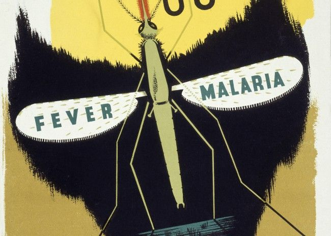 Poster: A mosquito forming the eye-sockets of a skull, representing death from malaria. By Abram Games, 1941.