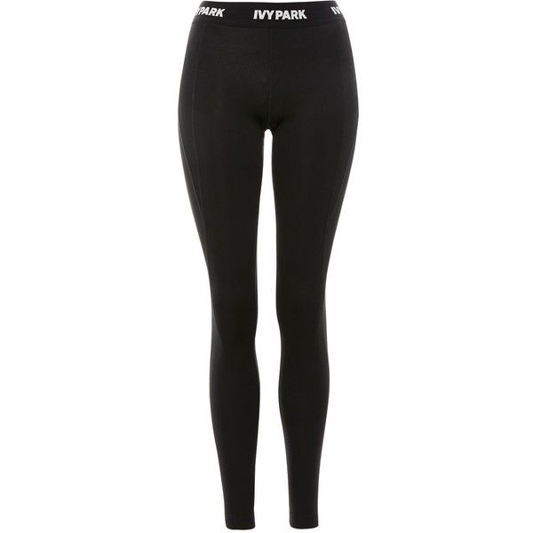 Logo Ankle Leggings by Ivy Park ($65) ❤ liked on Polyvore featuring pants, leggings, topshop, black, legging pants, logo pants, topshop trousers, ankle length leggings and topshop pants