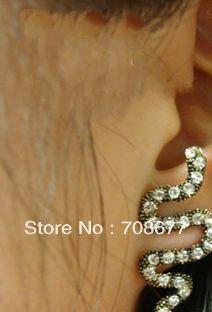 НОВЫЕ Поступления Мода Пара Горный Хрусталь Бронзовый Змея Серьги Стержня Уха Бесплатная Доставка для Женщин новые