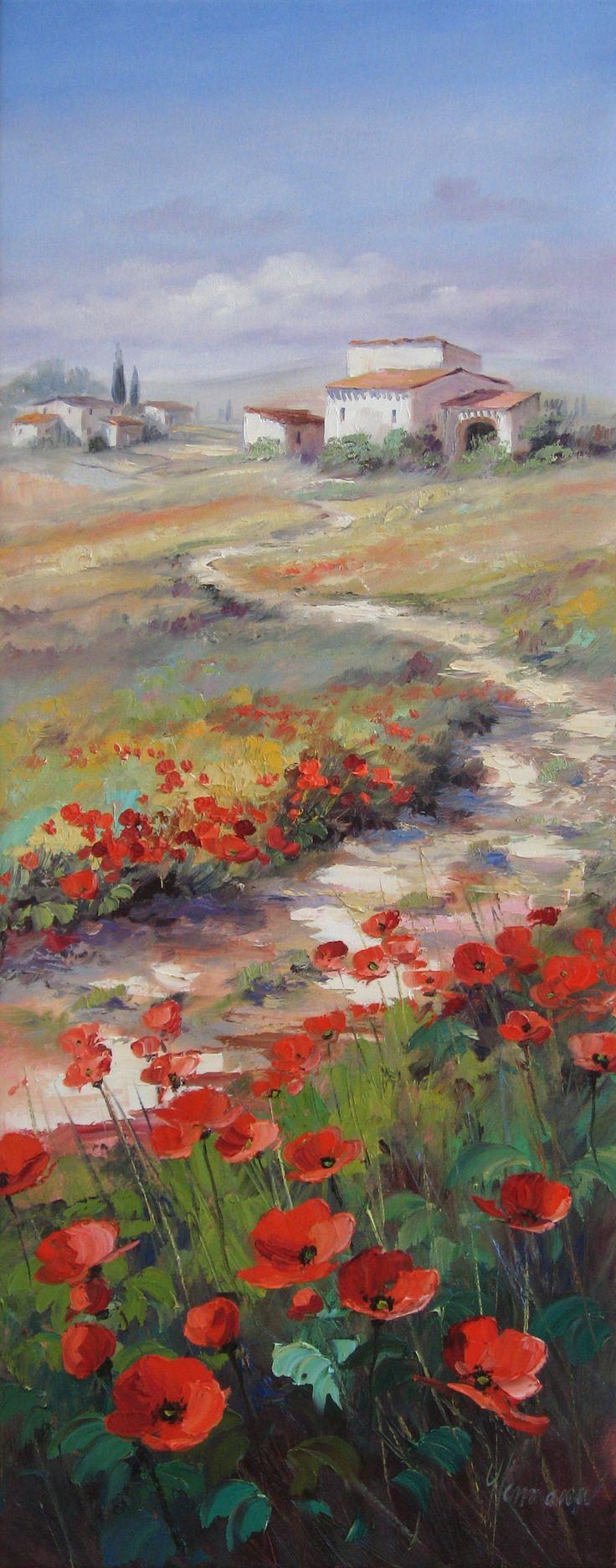 Ölgemälde - Landschaft mit Mohn in der Toskana - Ein Weg führt durch weite Felder, vorbei an malerischen Häusern | Weitere Ölbilder von Ute Herrmann finden sie unter: www.ute-herrmann-kunstmalerin.de
