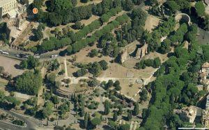 Veduta dall'alto del Colle Oppio – Foto tratta da Google Maps