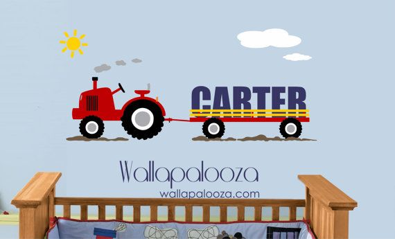 Custom name Tractor Kids Wall Decal - Vinyl Wall Decal - Boys Room Wall Decal -