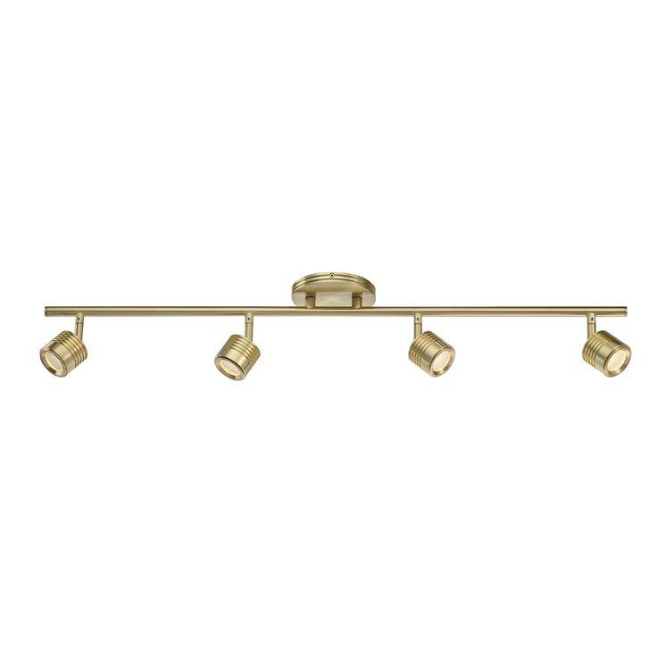 Vector Brushed Brass 4 Light LED Rail Kit Wac Lighting Track Lighting Packages Track Light