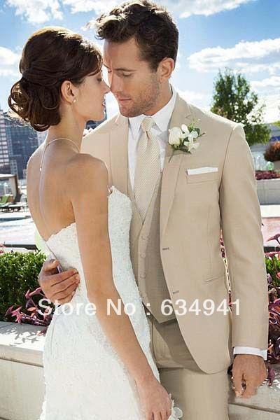 Top sell/Custom Beige Groom Tuxedos Notch Lapel Best Man Groomsmen Men suits Wedding  Bridegroom tuxedos(Jacket+Pants+Tie+Vest)  £76.36
