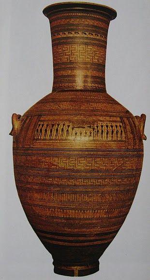 Anfore del Dipylon; 750 a.C.; ceramica arcaica in stile geometrico;necropoli del Dypilon; Museo archeologico nazionale, Atene