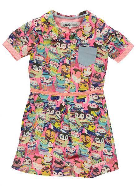 Moodstreet Moodstreet jurk roze met Uilen print